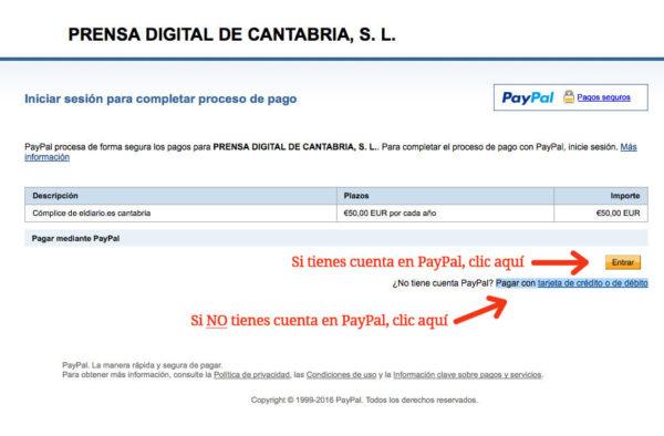 Si tienes cuenta en PayPal solo tienes que loguearte con tus datos. SI NO TIENES CUENTA pincha en el enlace inferior y completa todos los datos en un solo paso.